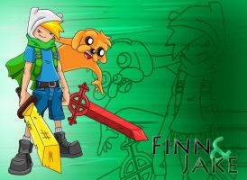 Finn and Jake by Memphiston