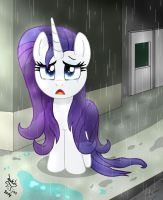 MLP FIM - Regretfull Rarity In The Rain by Joakaha