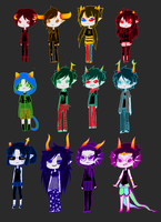 ref sheet/ all the genderbent trolls by ask-gamzen