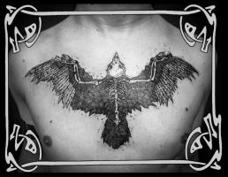 Brian's Chest Tattoo - Haste the Day Crow by Tattoo-Nouveau