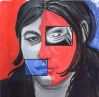Self portrait in red and blue by depplosion