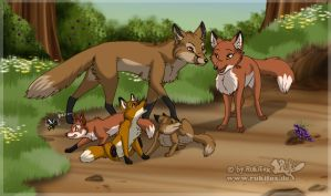 Fox family by RukiFox