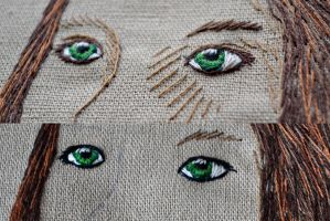 embroidering eyes - color comparison by Pumora