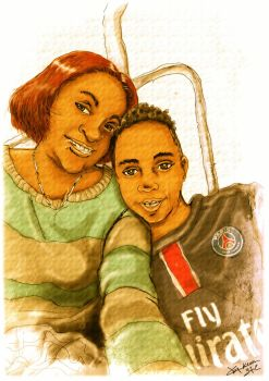 Portrait Mother and this son west-indin by kera972