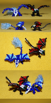 Beaded dragons - Sam and Dreit by Samantha-dragon