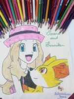 Serena and Fenniken Hand Drawing~1 by TheKalosQueenSerena