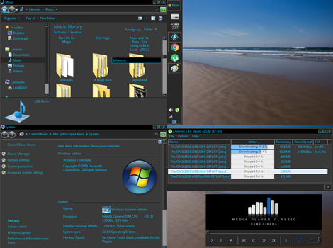 Minimal Black 'n Blue Classic Theme For Win7 by guilien
