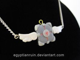 Companion Cube Heaven Necklace by egyptianruin
