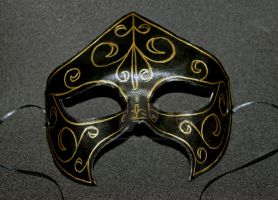 Black and Gold Leather Mask by themotleymasquerade