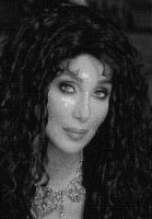 Black and white Cher Photo Mosaic by whendt