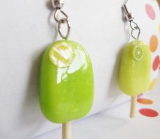 Lemon-Lime Popsicle earrings by kikums