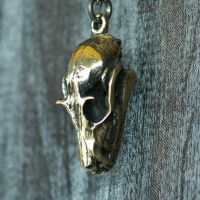 Polished Bronze Flying Fox Bat Skull Necklace by PeteRhodesDesigns