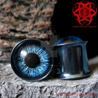 Blue Eye Anodized Plugs by piercedeyedesign