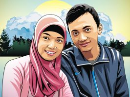 Vector Couple Boy and Hijab Girl by ndop
