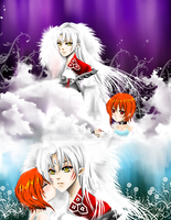 Sesshomaru and Young Hikari by shrimpHEBY
