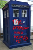 The professor graffitied the TARDIS by htf-lover12