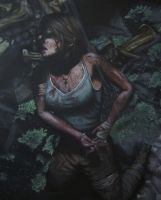 -Updated- Acrylic Painting of Lara Croft by CurlyWurly808