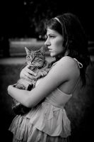 Girl with cat IX by ladyang