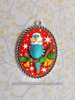 Christmas budgie pendant ornament by emmil
