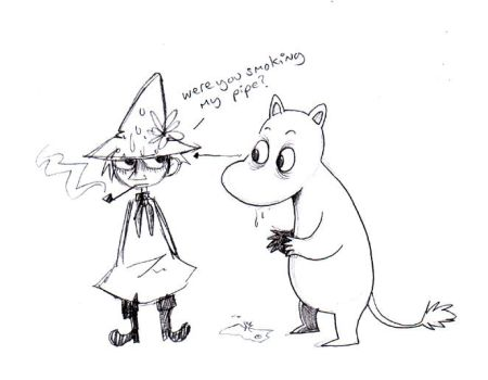 Moomintroll and Snufkin by vern-argh