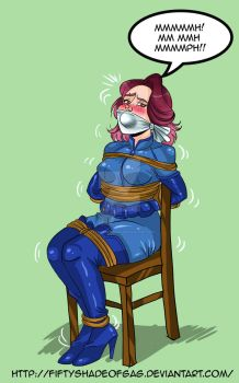 Commission-OTM and stuffed gag with chair tied by fiftyshadeofgag