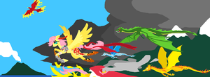Fire Flight, Unfinished. Fluttershy pixel pic by FoldawayWings