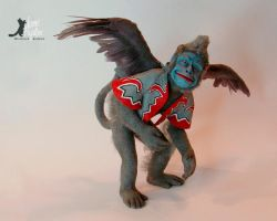 Miniature Winged Monkey sculpture by Pajutee