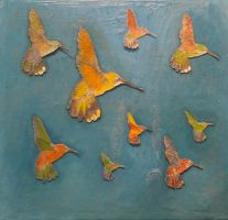 humming birds by girl-painter