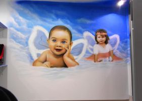 Graffiti mural in baby store by mechanism0022