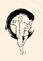 Shaolin monk calligraphy by Flycan