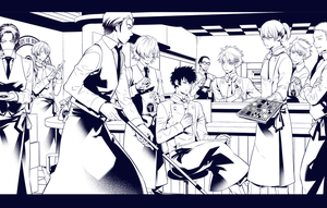 PSYCHO-PASS  dogs CAFE Line drawing by obaka3