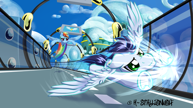Flying duel...ACCELERATION! by H-StallionWolf