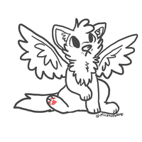 Winged wolf lineart! by Michibu