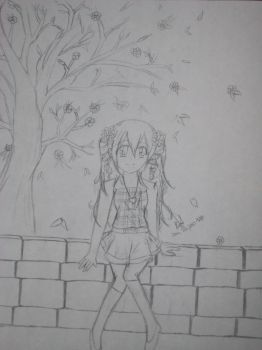 girl in park bw by animeangelx94