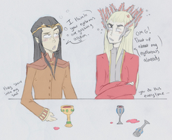 Elrond and Thranduil trade by GeckoSpine