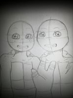 Mikey and Raph, in progress by yui-cute