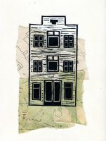 House 01, Lino print on collage by Palindroom