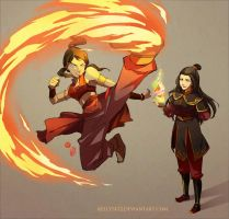 Korra _ Firebending training with Azula by kelly1412