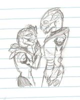 Young Garrus and Solana by greenmamba5