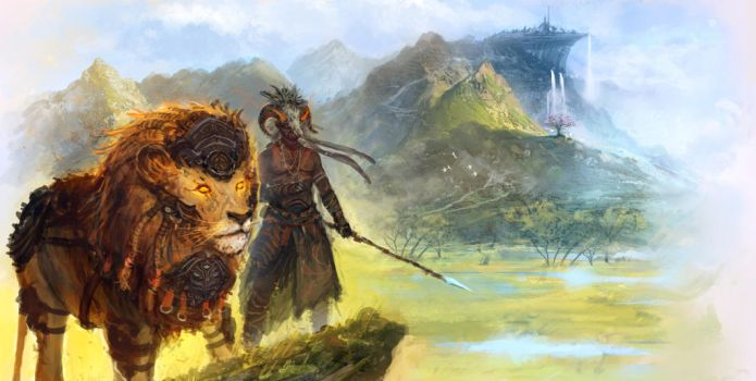Lion and Ram by saleemakhtar