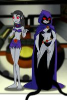 Raven and Starfire possessed by Trigon by AndronicusVII