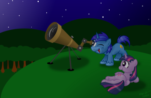 Commission:  Stargazing with Princess Twilight by AleximusPrime