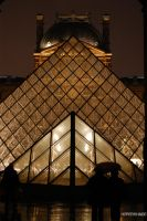 Louvre's pyramids at night by Hyper-Shade