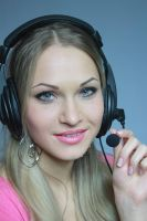 blond in earphone with mike by kozak2008