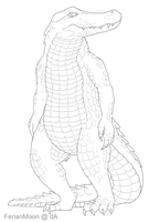 Free Anthro Alligator Lineart by FerianMoon