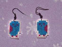 Cross Stitch Earrings - Funky Owls - by HopperARTZ