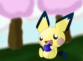 Pichu eating an Oran Berry by Thongchan