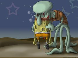 Squidward Devours Spongebob by Cannibal-Cartoonist