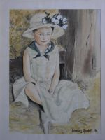 child with straw hat by HendrikHermans
