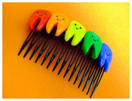 Rainbow Teeth Hair Comb by decima